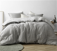 Cozy Twin XL, Queen, or King Comforter Stylish Gingham Gray Designer Supersoft Cotton Oversized Bedding