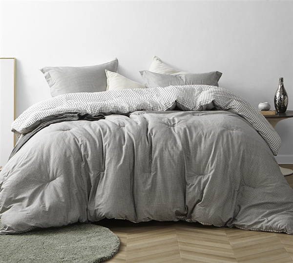 One of a Kind Extra Long Cotton Twin Comforter with Unique Designer Pattern Easy to Match Gingham Gray Impactful Twin XL Bedding Decor
