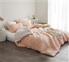 Designer Queen XL Comforter with Soft Cotton Exterior Pretty Just Peachy Queen Oversize Bedding