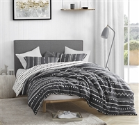 100% Cotton Oversized King Duvet Cover Trinity Designer King XL Bedding with Faded Black and White Design