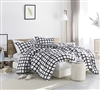 Unique Designer King Oversize Comforter Stylish Chroma Black and White Grid Pattern on Soft Cotton King XL Bedding