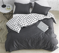 Oversized King Duvet Cover for Extra Large King Comforter Unique Route Designer Faded Black and White 100% Cotton King Bedding