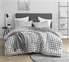 Unique Moda Designer Twin XL, Queen XL, or King XL Comforter with Black and White Grid Pattern Soft Cotton Oversized Bedding
