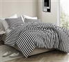 Highly Stylish Designer Oversized Twin XL Comforter Black and White Striped Onyx Design Fashionable Cotton Extra Long Twin Bedding
