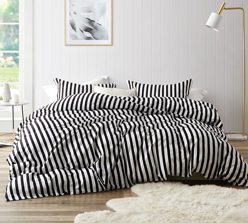 Onyx Black And White Striped Oversized Queen Duvet Cover 100