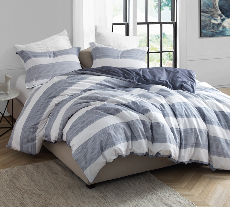 Blue And White King Bedding 100 Cotton Karst Stripes Designer Oversized Xl Duvet Cover