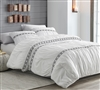 White Queen Extra Large Comforter with Black Textured Design Stylish Santorini XL Queen Bedding With Pillow Shams