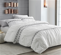 White Santorini Oversized Twin Comforter with Black Textured Detailing Stylish Textured Twin Extra Large Bedding