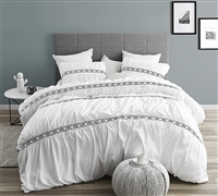 White Santorini XL Queen Duvet Cover With Black Stitch Details Super Soft Microfiber Oversized Queen Bedding