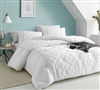 White Queen Oversize Comforter Le Blanc Textured XL Queen Bedding with Textured Quilt Stitch Design