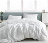 White Quilted Textured Le Blanc Essential XL Queen Bedding Oversized Queen XL Duvet Cover