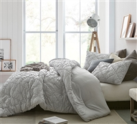True Oversized Twin Comforter Farmhouse Morning Textured Glacier Gray Twin Extra large Bedding