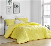 Textured Twin Extra Large Bedding Set Farmhouse Morning Limelight Yellow Soft Microfiber Oversized Twin Comforter