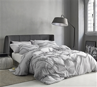 Stylish Chevron Glacier Gray Textured Ruffles Extra Large King Comforter Easy to Match Gray King Oversize Bedding