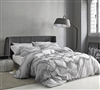 True Oversized XL Twin Bedding Glacier Gray Twin Extra Large Comforter with Textured Ruffle Chevron Design