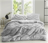 Soft Microfiber King XL Duvet Cover for Extra Large King Comforter Textured Ruffles Glacier Gray XL King Bedding with Chevron Pattern
