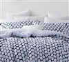 Ideal Midnight Hive white and navy Queen sized Sham sets - Queen size bedding pillow shams to match comfortable bed comforters.