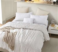 Off White Oversized Full XL Comforter Stylish Handcrafted Series Jet Stream Waves Beautiful Extra Large Full Bedding