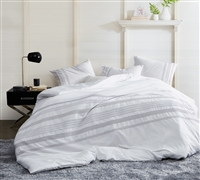 Essential Queen XL Duvet Cover Villa Stitch Oversized White Queen Bedding with Embroidered Design