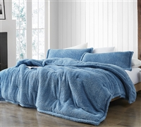 Extra Large Twin, Queen, or King Plush Comforter Faded Denim Blue Comfortable Bedding