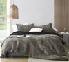White King Comforter Insert with Neutral Black and Tan King Extra Large Duvet Cover and Matching King Pillow Shams
