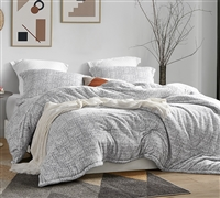 Neutral Gray and White Extra Large Twin, Queen, or King Comforter and Matching Pillow Sham Set