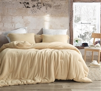 Queen Oversized Bedspread Made with High Quality Faux Wool Luxury Coma Inducer Wool-Ness Gilded Beige