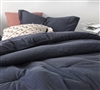 Classic Navy Twin, Queen, or King Extra Large Comforter with White Pin Stripe Design