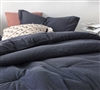 Pinstripe Navy Oversized Twin Comforter - 100% Yarn Dyed Cotton