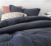 Navy Blue Oversized Twin Bedding Set Cozy Yarn Dyed Cotton Comforter with White Pinstripe Pattern