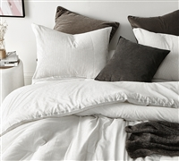 Pinstripe White Oversized Twin Comforter - 100% Yarn Dyed Cotton