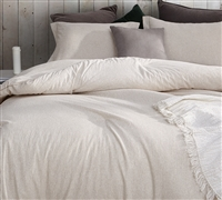 Off-White King XL Comforter with Light Brown and Tan Stripe Pattern White Sandy Beaches High Quality Designer King Bedding