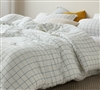 White Twin, Queen, or King Oversized Cotton Bedding Set with Stylish Blue Grid Pattern and Matching Pillow Shams
