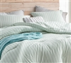Unique Serenity Mint Green Twin Extra Large Comforter Set with Black and White Stripe Pattern