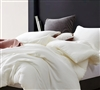 Dove White Stripe Oversized King Comforter - 100% Yarn Dyed Cotton