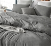 Extra Large Twin, Queen, or King Comforter and Matching Sham Set River Stone Gray XL Comforter with Grid Pattern