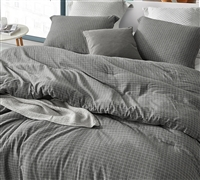 Yarn Dyed Cotton Machine Washable Queen Oversized Comforter River Stone Designer Gray Queen Bedding