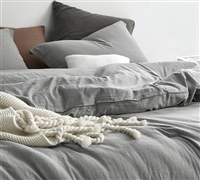 Stylish Neutral Shaded Gray Extra Large Queen Comforter Set - 100% Yarn Dyed Cotton Soft Comfort