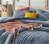 Machine Washable Oversized Twin Comforter and Standard Pillow Sham Baltic Navy Designer Twin XL Bedding