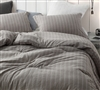 Rustic Bronze Stripe Oversized King Comforter - 100% Yarn Dyed Cotton