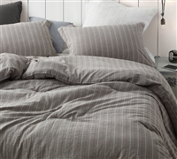 Rustic Bronze Stripe Oversized Queen Comforter - 100% Yarn Dyed Cotton