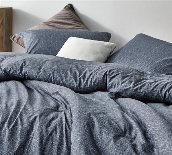 Interwoven Navy Oversized Twin Comforter - 100% Cotton