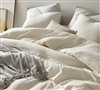 Designer Queen Bedding Set Neutral Heathered Ivory Beige Extra Large Queen Comforter