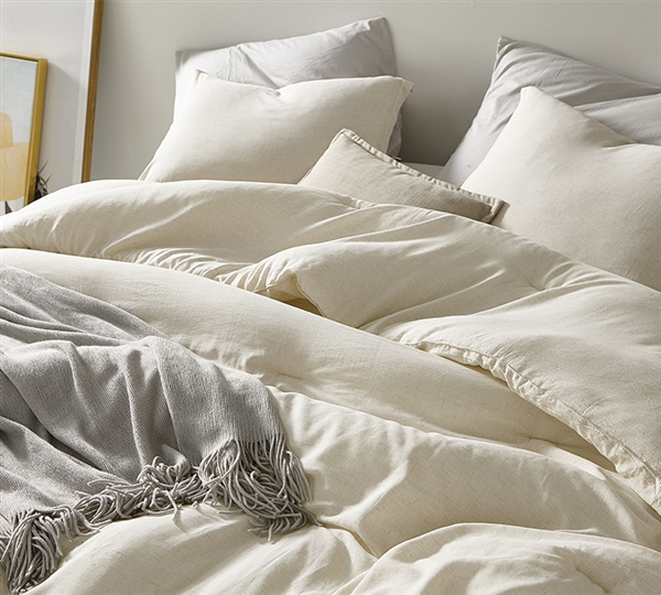 Heathered Ivory Beige Oversized Twin Comforter - 100% Yarn Dyed Cotton