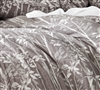 Watercolor Vine - Gray Plum Oversized King Comforter - 100% Yarn Dyed Cotton