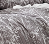 Designer Watercolor Vine Gray Plum Twin, Queen, or King Oversized Comforter and Matching Shams