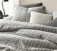 Charter Gray Oversized Queen Comforter - 100% Yarn Dyed Cotton