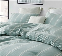 Striped Pistachio Mint Oversized Queen Comforter - 100% Yarn Dyed Cotton