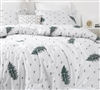 Machine Washable White Twin, Queen, or King Extra Large Bedding Set with Nature Inspired Botanical Design