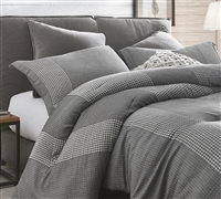Stylish Volume Gray Oversized Queen Bedding Set with Extra Large Queen Comforter and Standard Pillow Shams